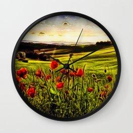 Red Poppy Fields - Tuscany, Italy Landscape by Jeanpaul Ferro Wall Clock