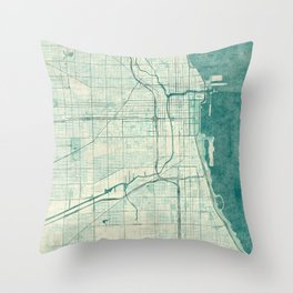 Chicago Map Blue Vintage Throw Pillow