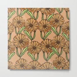 Pattern with flowers of calendula Metal Print