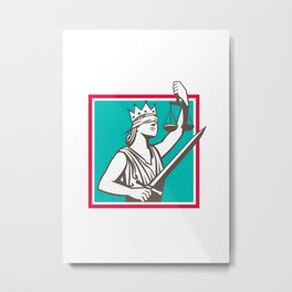 Lady Justice Raising Scales Sword Square Retro Metal Print