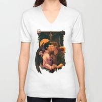 destiel V-neck T-shirts featuring so broken (text) by Mantis