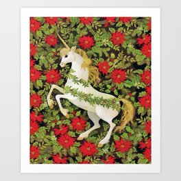Christmas Unicorn Art Print