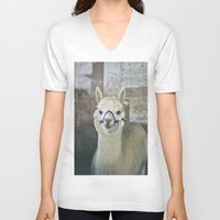 alpaca V-neck T-shirts featuring White Alpaca  by Laura Ruth