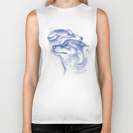Two Wolves In Blue Art Drawing Biker Tank
