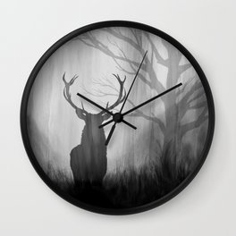Black and White Stag Silhouette Wall Clock