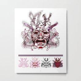 "Samurai 1. (Samurai mask ""A"" big and 4 small masks) Metal Print"