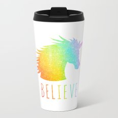 Believe  |  Rainbow Glitter Unicorn Metal Travel Mug
