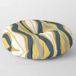 Hourglass Abstract Mid Century Modern Retro Pattern in Mustard Yellow, Navy Blue, Grey, and White Floor Pillow