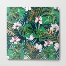 Tropical forest green lilac gold monster leaves floral Metal Print