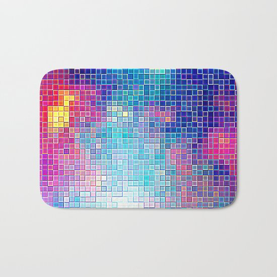 Colorful Abstract Pixels Bath Mat