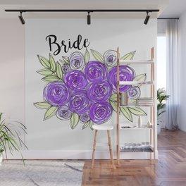 Bride Wedding Bridal Purple Violet Lavender Roses Watercolor Wall Mural