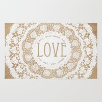 all you need is love Area & Throw Rugs featuring All You Need is Love by Jenndalyn