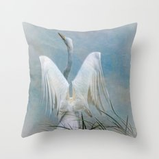 Egret Preparing to Launch Throw Pillow