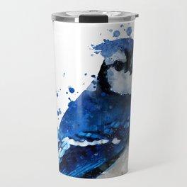 Watercolor blue jay bird Travel Mug
