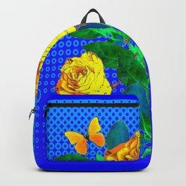 YELLOW BUTTERFLIES, ROSES, & BLUE OPTICAL ART Backpack