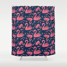 Cygne (Block cut swans) Shower Curtain