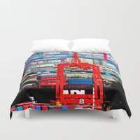 shipping Duvet Covers featuring Shipping by Jeffrey J. Irwin