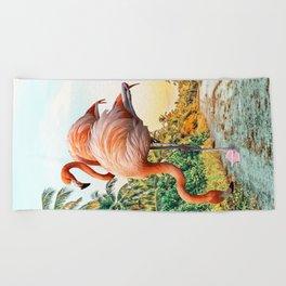 Flamingo Vacay #photography #surrealism Beach Towel