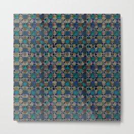Mid century geometry blue Metal Print