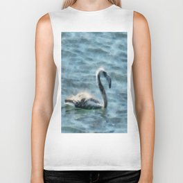 Fledgling Flamingo At Sea Watercolor Biker Tank