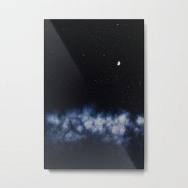 Contrail moon on a night sky Metal Print