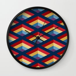 SQUARE HOLES / midnight blue / ketchup red / putty yellow / phthalo blue / violet Wall Clock