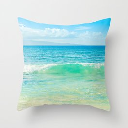 Ocean Blue Beach Dreams Throw Pillow