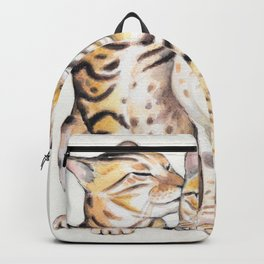 Bengal Cats Love Watercolor Ink Art Backpack