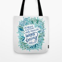 fitzgerald Tote Bags featuring Zelda Fitzgerald – Blue on White by Cat Coquillette