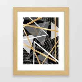 Original Gray and Gold Abstract Geometric Framed Art Print