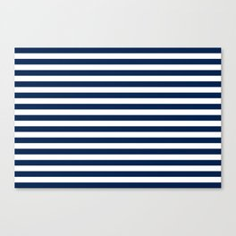 Slate blue and White Thin Stripes - Navy Nautical Pattern Canvas Print