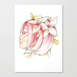 Sakura & Lilies Canvas Print