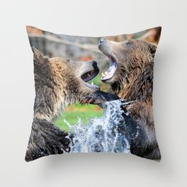 Sparring Grizzly Bears Throw Pillow