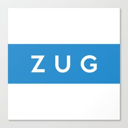 Zug region switzerland country flag name text swiss Canvas Print