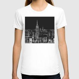 Contemporary Elegant Silver City Skyline Design T-shirt