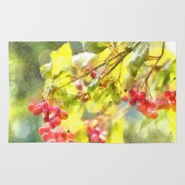 Winter Berries Watercolor Rug