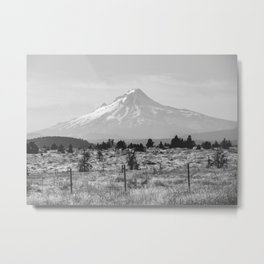 Desert Mountain Black and White Metal Print