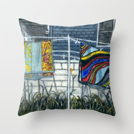Beach Towels Hanging to Dry Throw Pillow