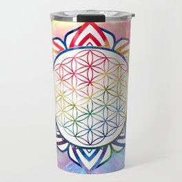 Rainbow Lotus Flower of Life Mandala Travel Mug