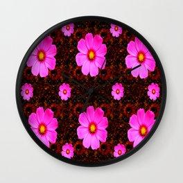 FUCHSIA PINK FLOWERS &  DARK ART Wall Clock