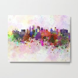 Kansas City skyline in watercolor background Metal Print