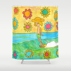 hang 10 groovy surf dude flower power Shower Curtain