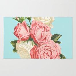 Pink Roses Vintage Rug