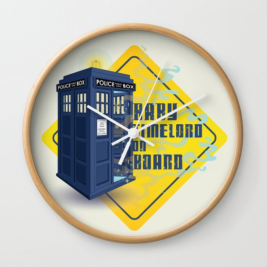 Doctor Who Tardis - Baby Timelord on Board Wall Clock