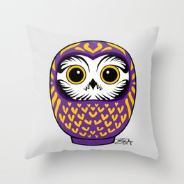 Purple Fukuro Daruma Throw Pillow
