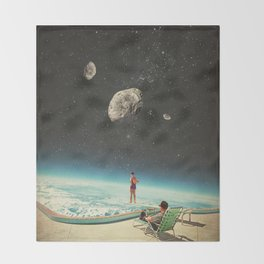 Summer with a Chance of Asteroids Throw Blanket