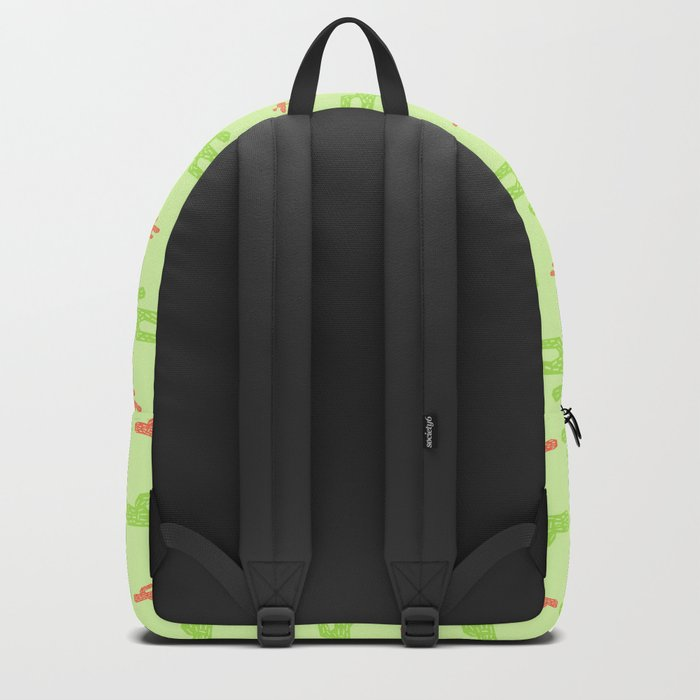 Green and red cactus pattern Backpack