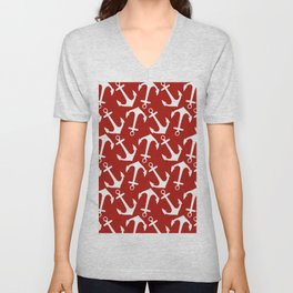 Maritime Nautical Red and White Anchor Pattern - Anchors Unisex V-Neck