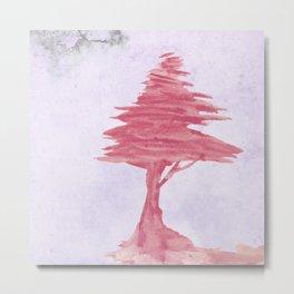 Red Tree watercolor on old paper Metal Print