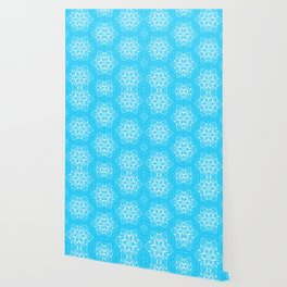 White Snowflakes stars ornament on Blue Wallpaper